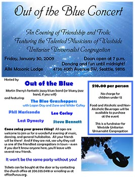 Small version of Out of the Blue flyer (click for PDF)